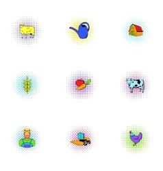Farmyard icons set pop-art style vector