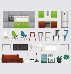 kitchen furniture accessories flat set vector image