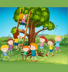 many kids climbing up ladder in park vector image vector image