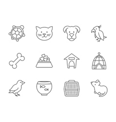Pets icon set in line art style vector image vector image