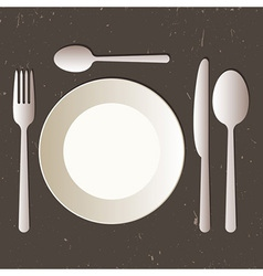Place setting with plate knife spoons and fork vector image