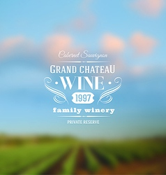 Wine label type design against a vineyards vector image vector image