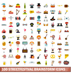 100 streetfestival brainstorm icons set flat vector image