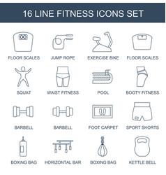 16 fitness icons vector