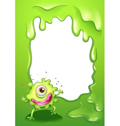 A one-eyed green monster with a pink lips vector image