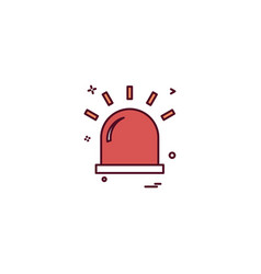 alarm flasher light red warning icon desige vector image
