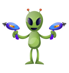Alien with guns on white background vector
