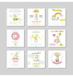 Baby shower card arrival baby card baby unicorn vector