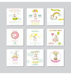 Baby shower card arrival card unicorn vector