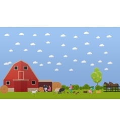 Banner of big farm with lots animals vector
