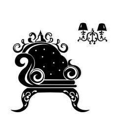 Baroque black furniture rich set handmade vector
