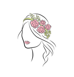 Beautiful young girl with a rim with flowers on vector