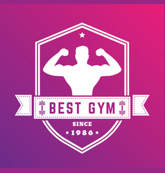 Best gym vintage logo white badge with athlete vector