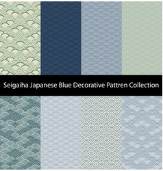 blue seigaiha luxury pattern collection vector image