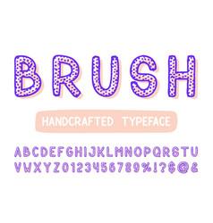 bold brush sans serif font hand drawn artistic vector image