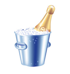 bottle champagne in an ice bucket vector image