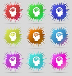 Brain icon sign A set of nine original needle vector image