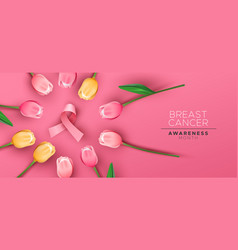 breast cancer awareness banner pink tulip ribbon vector image