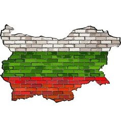 Bulgaria map on a brick wall vector image