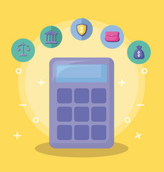 Calculator with economy and financial icons vector