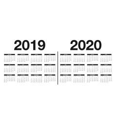 calendar 2019 and 2020 template design vector image