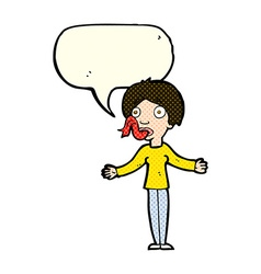 Cartoon woman telling lies with speech bubble vector