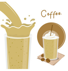 Coffee cup splash breakfast cartoon vector