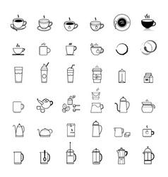 Coffee line icons set vector