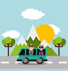 Couple tourist vacations in car van on road vector