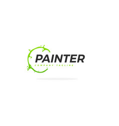 creative painter logo with green paint circle vector image