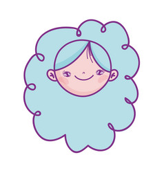 cute girl face cartoon character icon vector image