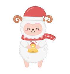 Cute sheep with hat and bell merry christmas vector