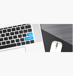 elearning key on laptop computer keyboard online vector image