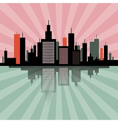 Evening - Morning City Scape Retro Skyline vector image