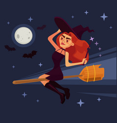 Evil witch woman character flying broom vector