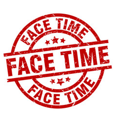 Face time round red grunge stamp vector