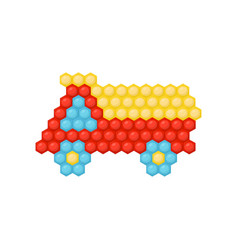 flat icon of truck car made of multicolored vector image