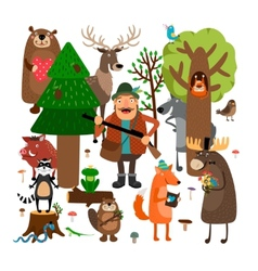 Forest animals and hunter vector image