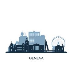 geneva skyline monochrome silhouette vector image