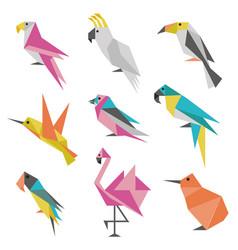 Geometric origami birds icons vector