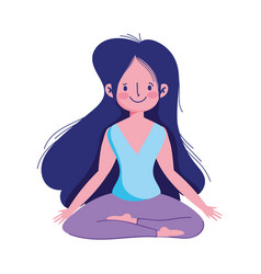 girl in yoga pose practicing isolated icon white vector image
