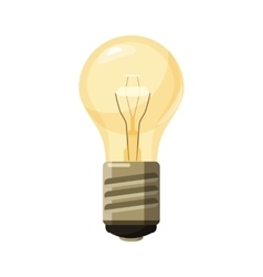 Glowing yellow light bulb icon cartoon style vector image