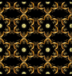 gold on black colors seamless medieval floral vector image