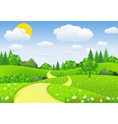 Green Landscape with trees clouds flowers vector image