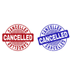 grunge cancelled textured round stamps vector image