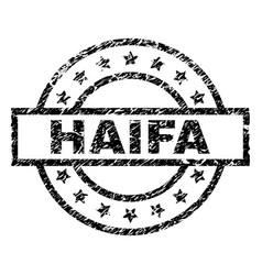 Grunge textured haifa stamp seal vector