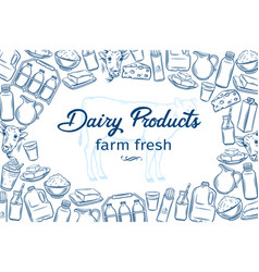 Hand drawn dairy products vector