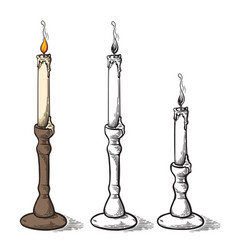 Hand made sketch retro old candle candlestick vector