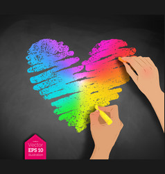 hands drawing rainbow colored heart vector image