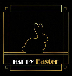 happy easter card of gold art deco outline bunny vector image